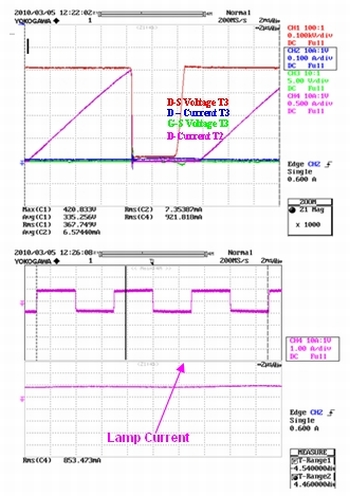 n60c3作为开关和d2至 d5二极管使用时,在t3晶体管关断阶段的电路波形.