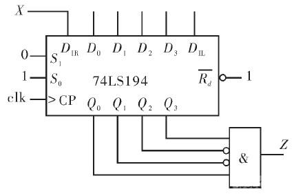 用4位集成移位寄存器74ls194,实现的序列1001检测器,如图6所示.