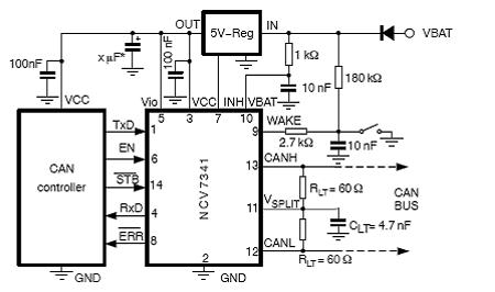 图2:采用ncv7341的5v can控制器应用电路图.