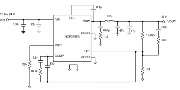 图3:NCP3155A典型应用电路图。   NCP3063及NCP3064是1.5 A升压、降压及反转开关稳压器,包含内置温度补偿参考、比较器、占空比受控振荡器及有源限流电路、驱动器及大电流开关。这系列器件的设计专门针对升压、降压及电压反转应用,所需外部组件极少。这系列器件的输出开关电流达1.