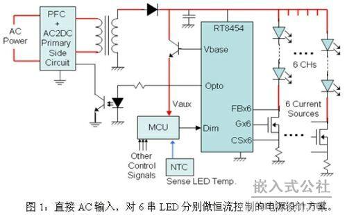 直接AC输入,对6串 LED分别做恒流控制
