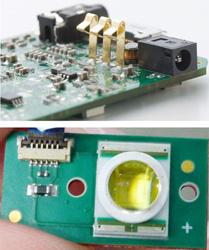 MPro110基板(上)与白光LED光源(下)