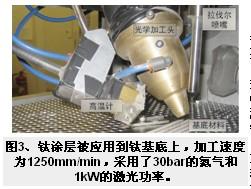 钛涂层被应用到钛基底上,加工速度
