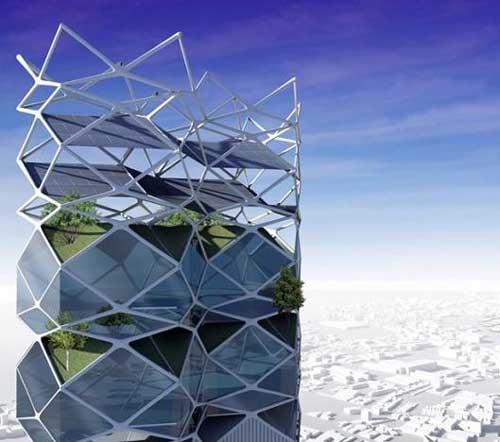 垂直公园的钢架结构支撑着太阳能电池板.
