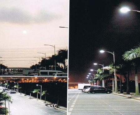 典型的太阳能供电街道照明系统示意图