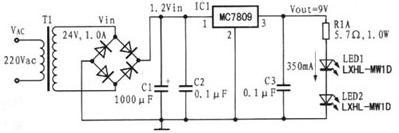采用线性稳压器的Luxeon LED驱动电路