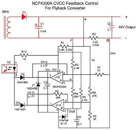 图4:NCP4300恒流恒压反馈控制,用于反激转转器