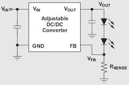 图2:用于调节LED电流的可调式DC/DC转换器