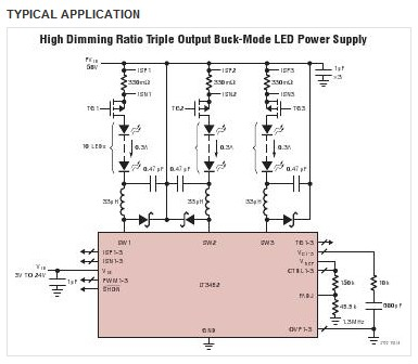 lt3492能于led高压端感测输出电流,以进行降压,升降压,或升压组态.