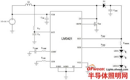 使用LM3421的升压稳压器驱动10个LED