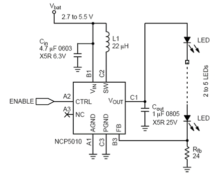 电荷泵和电感LED驱动器电路图