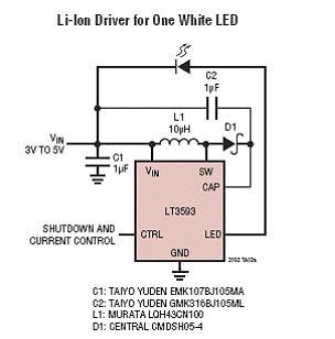 锂电池驱动单个白光LED电路图