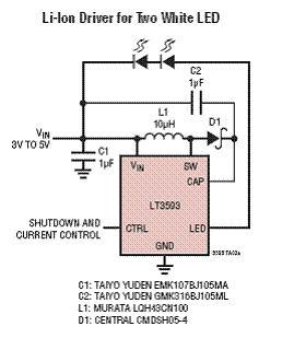 锂电池驱动两个白光LED电路图