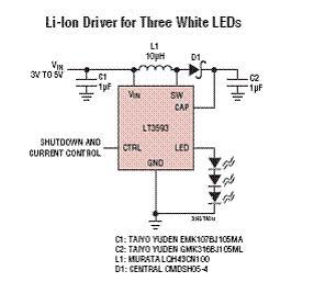 锂电池驱动3个白光LED电路图