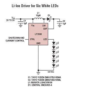 锂电池驱动6个白光LED电路图