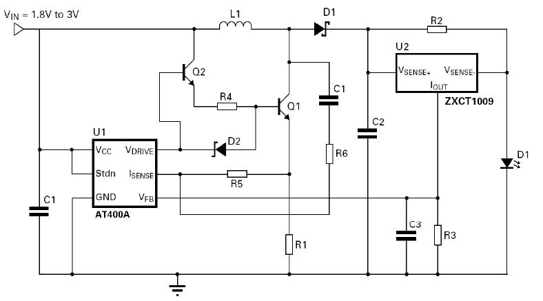 3W 升压LED驱动应用电路