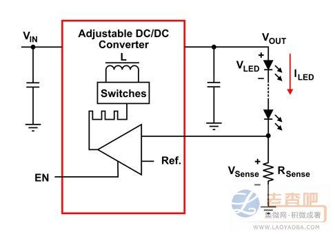 可调整输出DC-DC转换器提供通过WLED串行的稳定电流