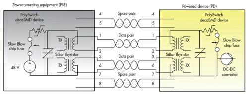 采用泰科sibar晶闸管和polyswith器件的过电流保护电路.