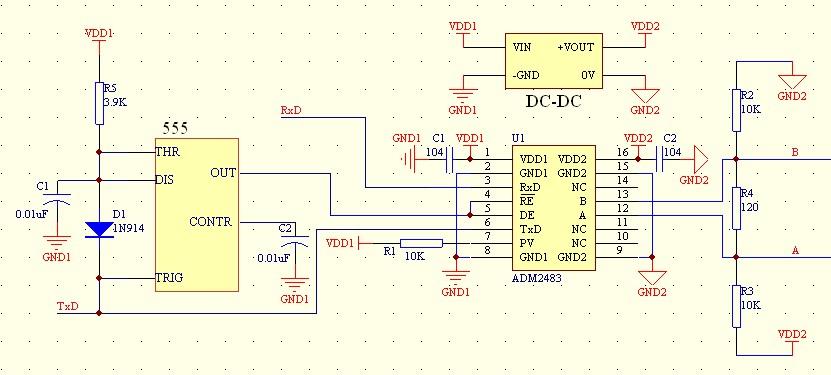 rs-485自收发电路的参考设计