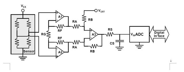 图2:基本压力传感器调节电路。