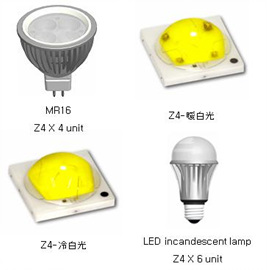Z4系列产品的规格为1W,非常适用于白炽灯和MR16灯泡型LED照明