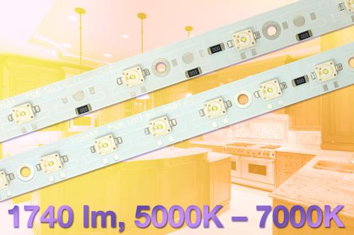 模块装入6或12个色温为5000K至7000K的高亮度白光LED,光通量高达1740流明