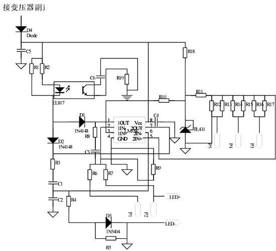 4.4输入电压检测电阻的设计   乘法器外围电路如图5所示。交流输入经整流后得到一个半波正弦形状的电压波形,为了使输入电流较好地跟踪输入电压波形,我们要在交流输入整流后进行电压采样,经电阻R21和R22分压后,电压约缩小100倍输入到SA7527的3脚,在电阻R2并联一个电容C15除整流后的电压纹波。由芯片的内部结构可知,乘法器输入端3脚电压在3.
