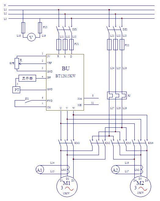 图1 恒压供水主电路原理图