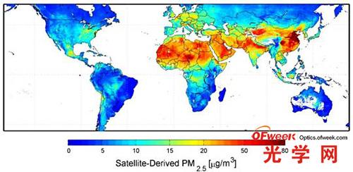 基于卫星数据模拟的2001-2006年间全球PM2.5年均浓度分布图