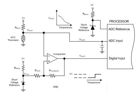 采用传统热敏电阻的电路