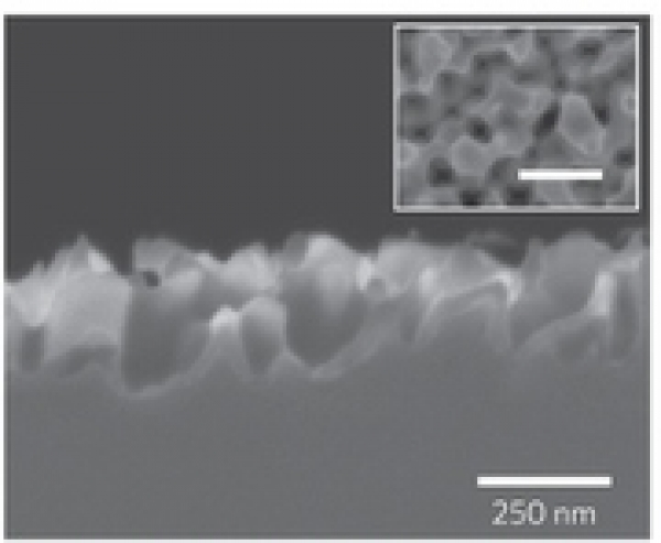 """在美国能源部国家可再生能源实验室(NREL)的科学家们日前宣布采用采用纳米技术生产的""""黑硅""""太阳能电池效率达到18.2%。NREL据称这是该技术的巨大突破,为降低太阳能成本迈进了一大步。   为制作黑硅材料,NREL首先在硅片表面制备银纳米颗粒,然后在通过湿法刻蚀制作特殊的多孔表面结构。通过控制溶液的配比,科学家可以调整纳米结构的形态。   NREL的研究人员日前在《自然•纳米技术》发表了题为""""An 18."""