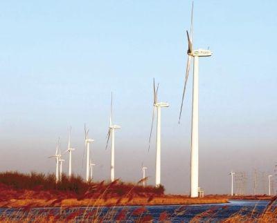图为沿河而建的港西街风能发电风车