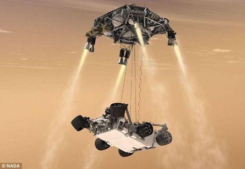 """""""好奇""""号将借助拥有减速火箭的一个天空起重机慢慢下降"""