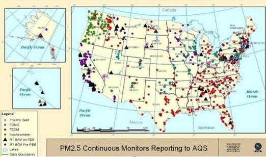 美国2010年PM2.5监测使用的仪器清单和布点