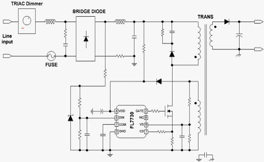 TRIAC调光应用线路板示意图(FL7730)