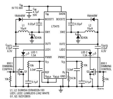 LT3475双通道高电压降压型LED驱动器可调节1.5A电路