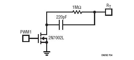 当被加至图3所示的电路中时PWM调光比