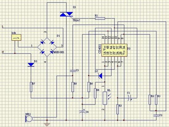 电容降压式声控LED灯电路总原理图