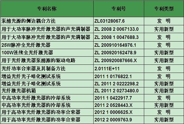 武汉锐科专利一览表