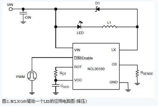 NCL30160驱动一个LED的应用电路图(降压)