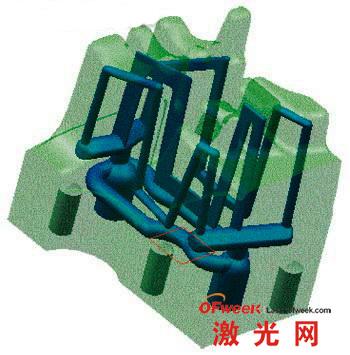 带靠近工件轮廓冷却水道的模具型芯