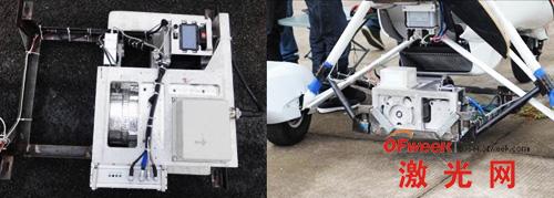 SK-700激光雷达实物图(左)和三角翼挂接系统图(右)