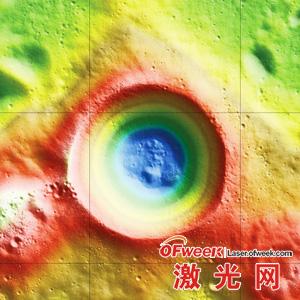 沙克莱顿陨石坑的激光高度图