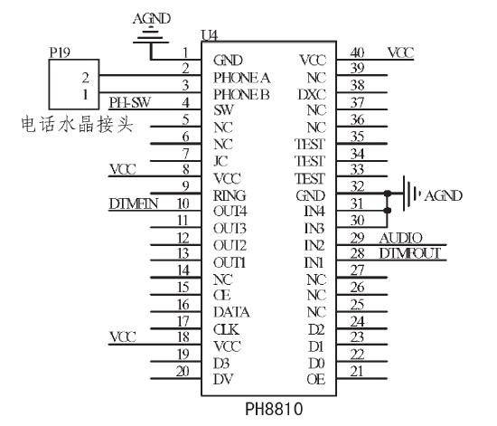电话接口电路采用电话接口模块PH8810实现。图7中引脚2、3用于连接电话线,引脚4连接单片机,用于摘挂机控制。所拨号码的双音频信号和报警语音信号从29、28引脚输入到PH8810,PH8810将信号自动增益放大后输出至电话线。电话线上的信号音经PH8810提取后从引脚10输出给MT8880。  图7电话接口电路   3系统软件设计   3.