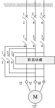 软启动控制电机的主电路图