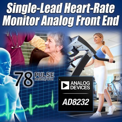 ADI推出业界功耗最低、尺寸最小的单导联心率监护仪