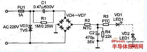 简单的LED照明驱动电路