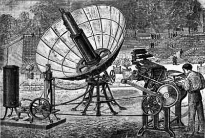 图为19世纪初,科学家研究太阳能的应用。