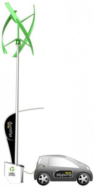 世界首个风能电动汽车充电站亮相巴塞罗那