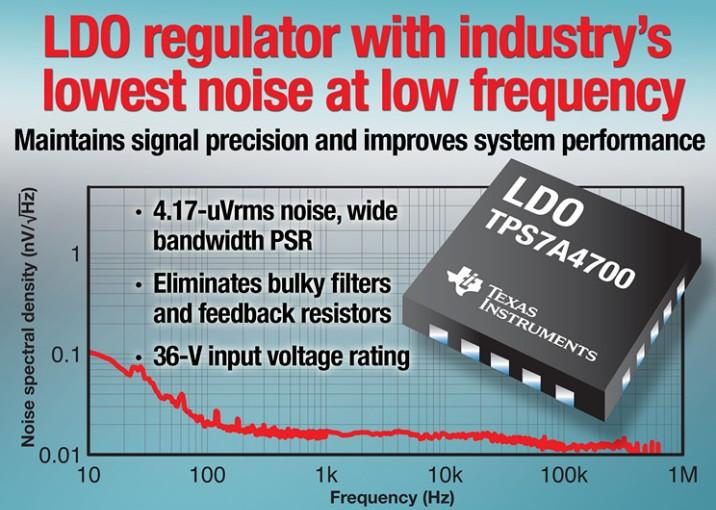德州仪器推出业界低频率下最低噪声的 LDO 线性稳压器